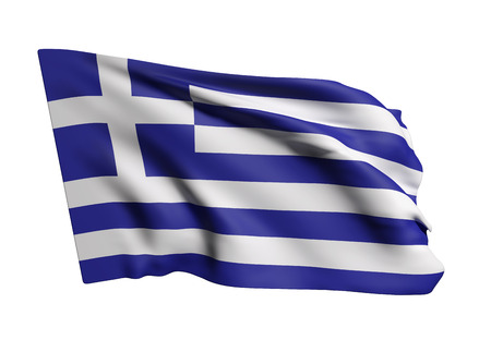 national geographic: 3d rendering of a Greece flag waving on white background Stock Photo