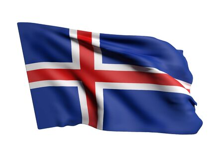 national geographic: 3d rendering of an Iceland flag waving on white background Stock Photo