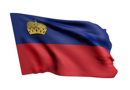 3d rendering of Liechtenstein flag waving on white background