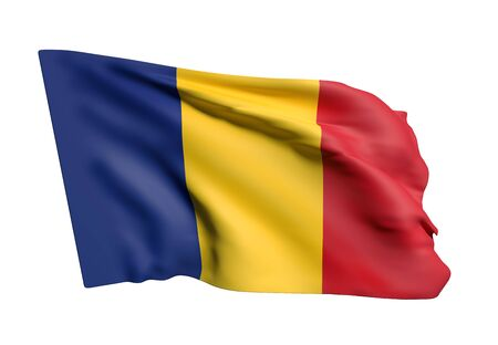 national geographic: 3d rendering of Romania flag waving on white background Stock Photo