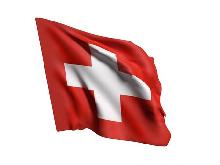 national geographic: 3d rendering of Switzerland flag waving on white background