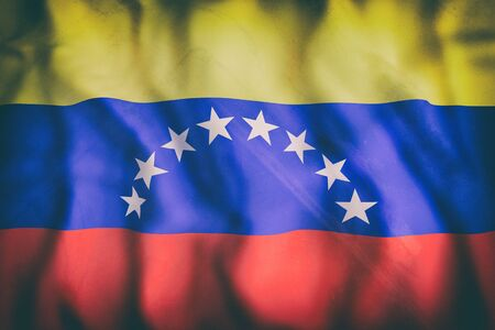 bandera de venezuela: 3d rendering of an old Venezuela flag waving Foto de archivo