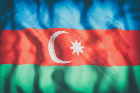 west asia: 3d rendering of an old Azerbaijan flag waving