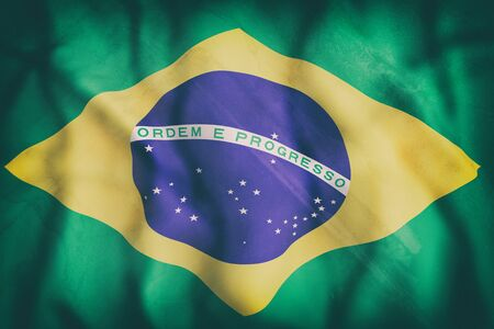 americas: 3d rendering of an old Brazil flag waving