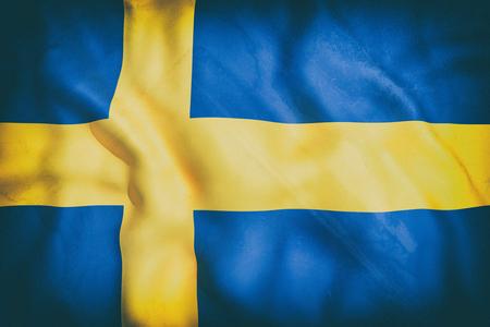 sweden flag: 3d rendering of an old Sweden flag waving