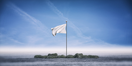 3d rendering of a white banner standing on ground against blue sky and horizon. Stock Photo