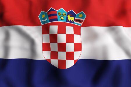 balkan peninsula: 3d rendering of a Republic of Croatia flag waving Stock Photo