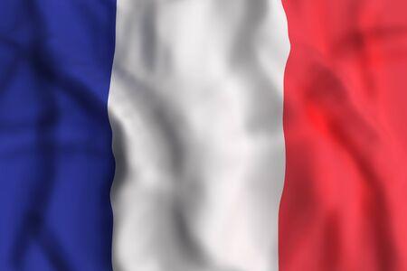 3d rendering of France flag waving