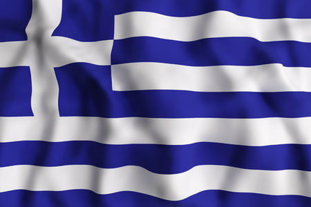 hellenic: 3d rendering of a Greece flag waving Stock Photo