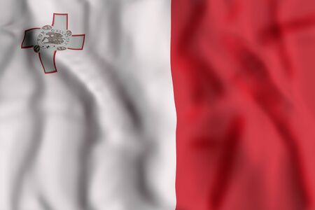 3d rendering of Republic of Malta flag waving Stock Photo