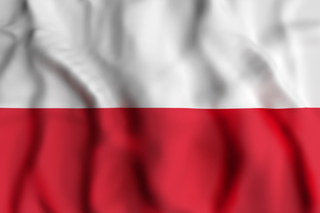 national geographic: 3d rendering of Poland flag waving Stock Photo