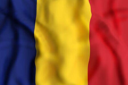 3d rendering of Romania flag waving