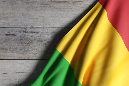 bamako: 3d rendering of Republic of Mali flag on wooden background Stock Photo