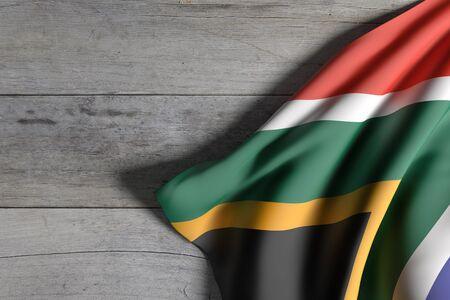 rendu 3d du drapeau Afrique du Sud en agitant sur fond de bois