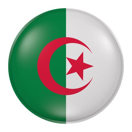 3d rendering of an Algeria  flag on a button