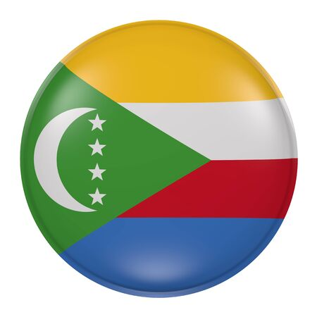 3d rendering of a Comoros flag on a button