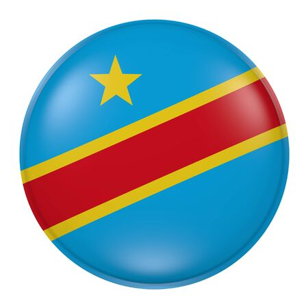 3d rendering of a Democratic Republic of Congo flag on a button