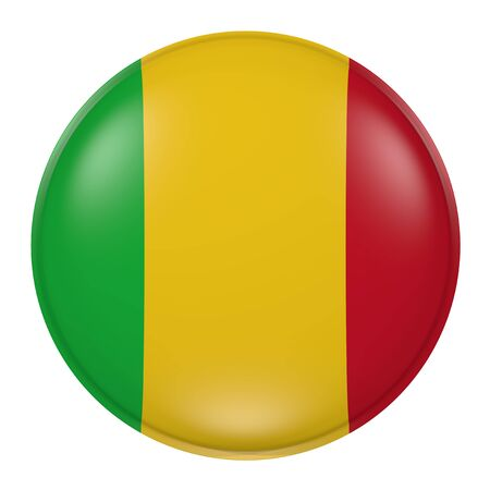 bamako: 3d rendering of a Mali flag on a button Stock Photo
