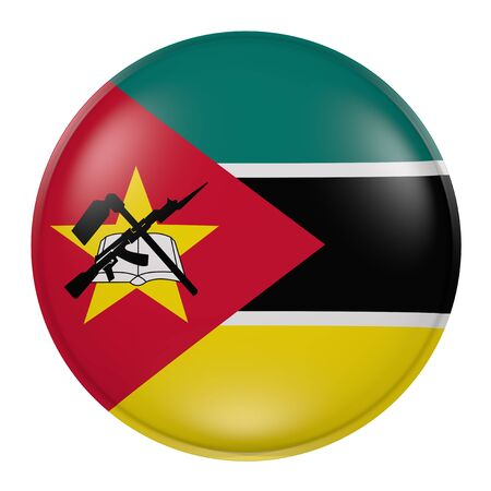mozambique: 3d rendering of a Mozambique flag on a button Stock Photo
