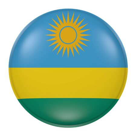kigali: 3d rendering of a Rwanda flag on a button Stock Photo