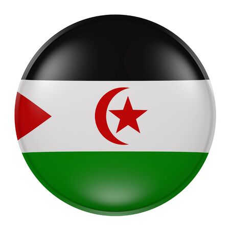 sahrawi arab democratic republic: 3d rendering of a Sahrawi Arab Democratic Republic flag on a button
