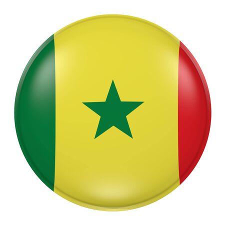 dakar: 3d rendering of a Senegal flag on a button