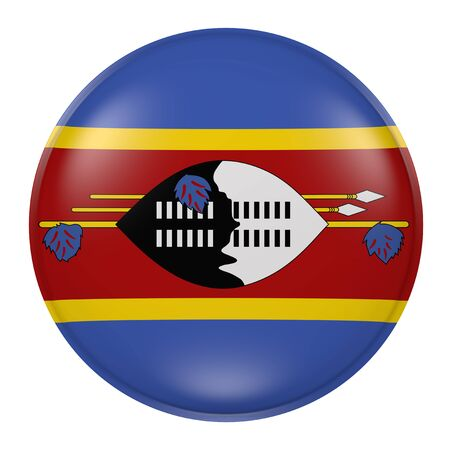 3d rendering of a Swaziland flag on a button Stock Photo