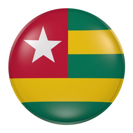 togo: 3d rendering of a Togo flag on a button