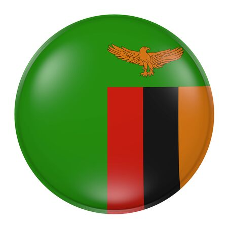 zambia flag: 3d rendering of a Zambia flag on a button