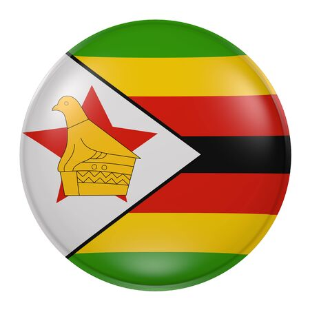 3d rendering of a Zimbabwe flag on a button