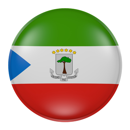 3d rendering of an Equatorial Guinea flag on a button
