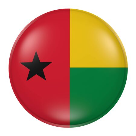3d rendering of a Guinea-Bissau flag on a button