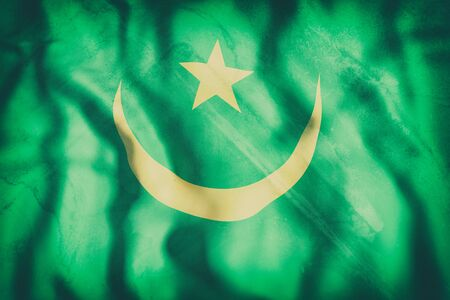 arabe: Representación 3d de una vieja bandera de Mauritania ondeando