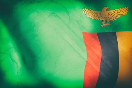 zambia flag: 3d rendering of an old Republic of Zambia flag waving