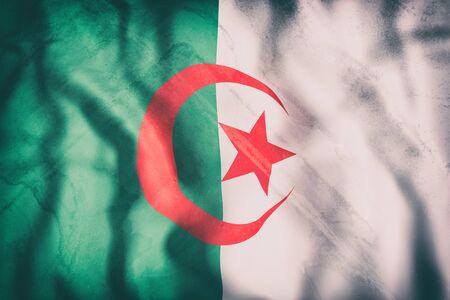 3d rendering of an old Algeria flag waving