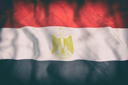 bandera egipto: Representación 3d de una vieja bandera de Egipto que agita Foto de archivo