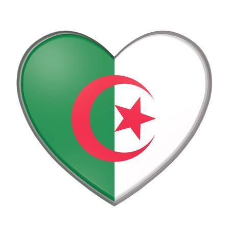 3d rendering of an Algeria flag on a heart. White background