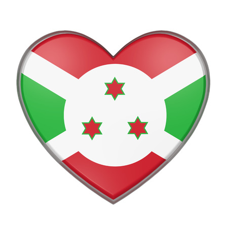 3d rendering of a Burundi flag on a heart. White background