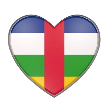 3d rendering of a Central African Republic flag on a heart. White background Stock Photo