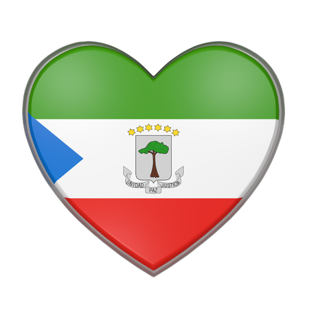 3d rendering of an Equatorial Guinea flag on a heart. White background