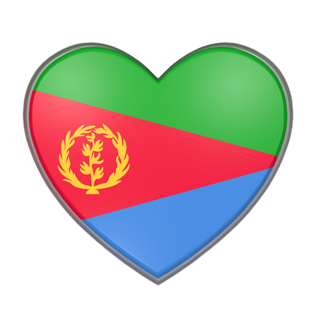 3d rendering of an Eritrea flag on a heart. White background