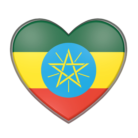 national flag ethiopia: 3d rendering of an Ethiopia flag on a heart. White background
