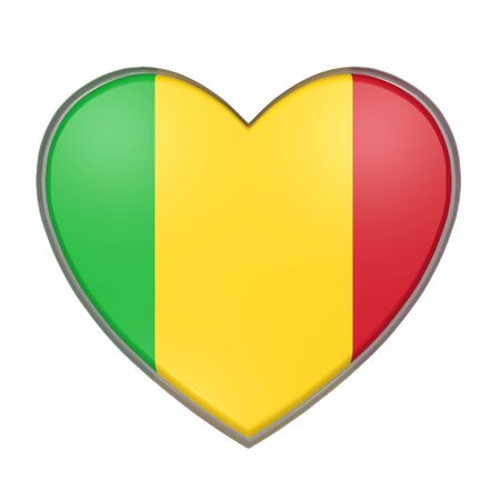 3d rendering of a Mali flag on a heart. White background Stock Photo