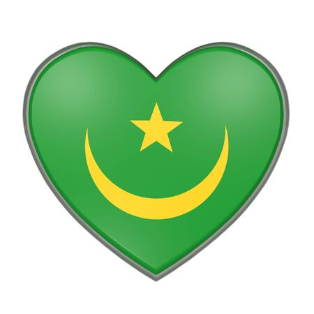 3d rendering of a Mauritania flag on a heart. White background Stock Photo