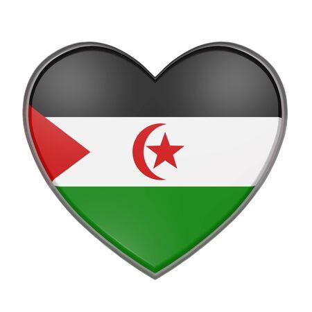 sahrawi arab democratic republic: 3d rendering of a Sahrawi Arab Democratic Republic flag on a heart. White background