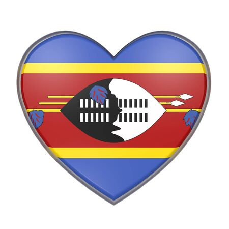 3d rendering of a Swaziland flag on a heart. White background