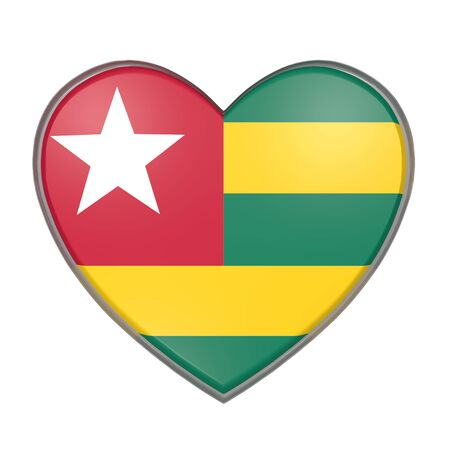 3d rendering of a Togo flag on a heart. White background