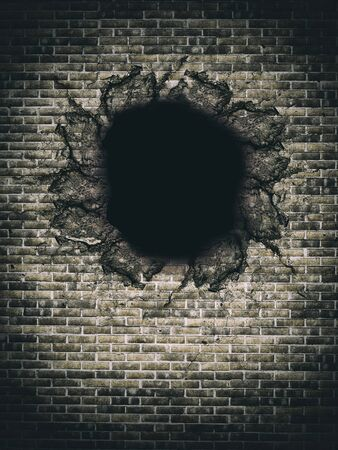 hole: Illustration of big hole in beige brick wall. Vertical outdoors shot Stock Photo