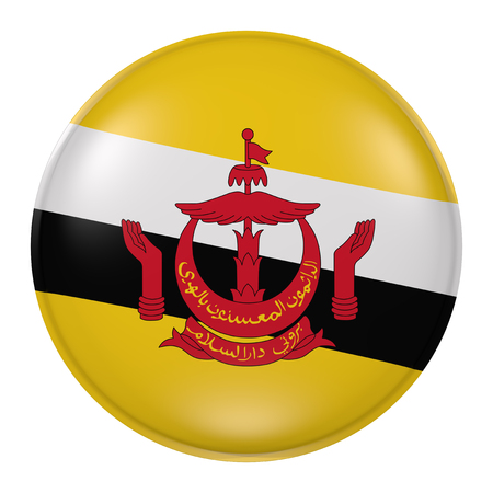 3d rendering of Brunei button with flag on white background