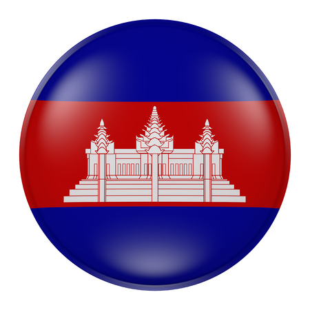 3d rendering of Cambodia button with flag on white background